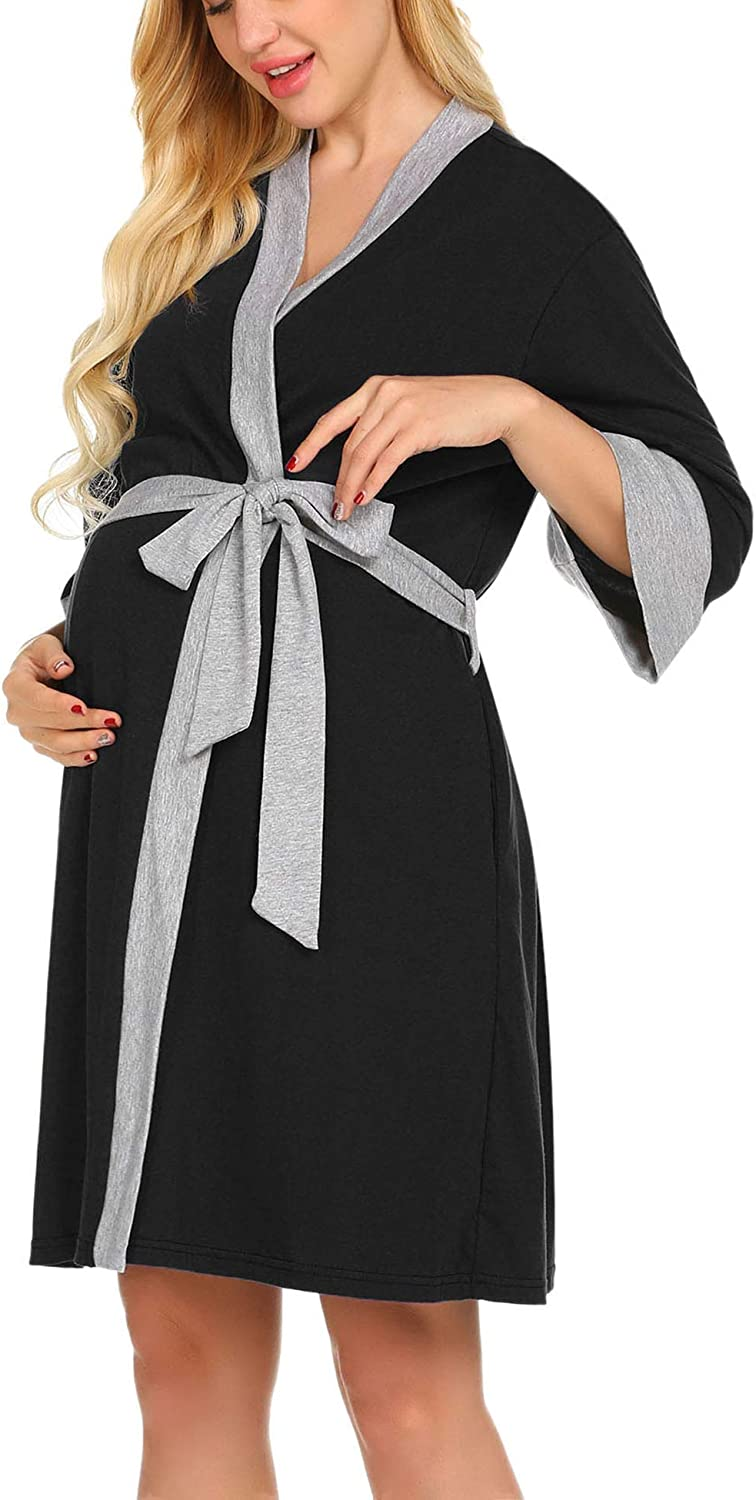 Ekouaer Maternity Nursing Robe Delivery NightgownsHospital Breastfeeding Gown at  Women's Clothing store