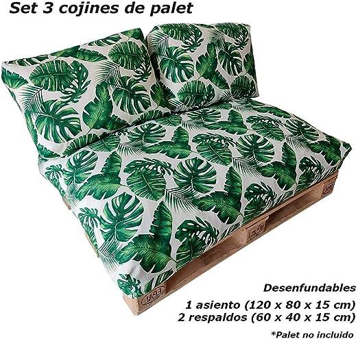 VIP HOGAR Set 3 Cojines desenfundables para palets (1 Asiento + 2 respaldos) (Palmito): Amazon.es: Jardín