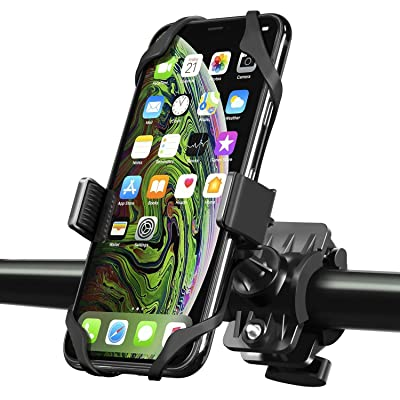 INSTEN Bike Mount Phone Holder, Universal Bicycle Motorcycle MTB Rack Handlebars Mount Cradle w/Secure Grip 360 Rotatable Rubber Strap Compatible with iPhone 11/11 Pro/11 Pro Max/X/XS Max/XR, Black: Electronics