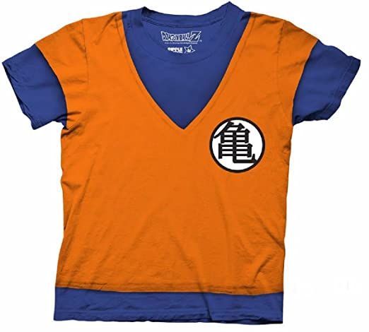 Dragon Ball Z Goku Fighting Uniform Costume Cosplay Licensed Adult Shirt (Medium)