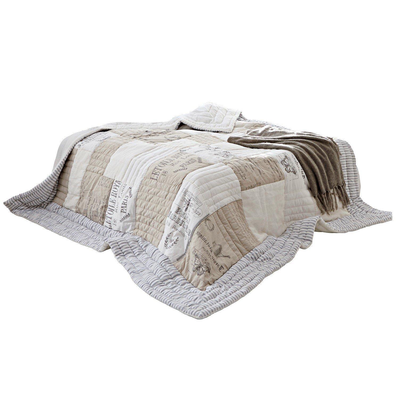 Loberon Quilt Framingham, Baumwolle, H B ca. 260 240 cm, leinen weiß
