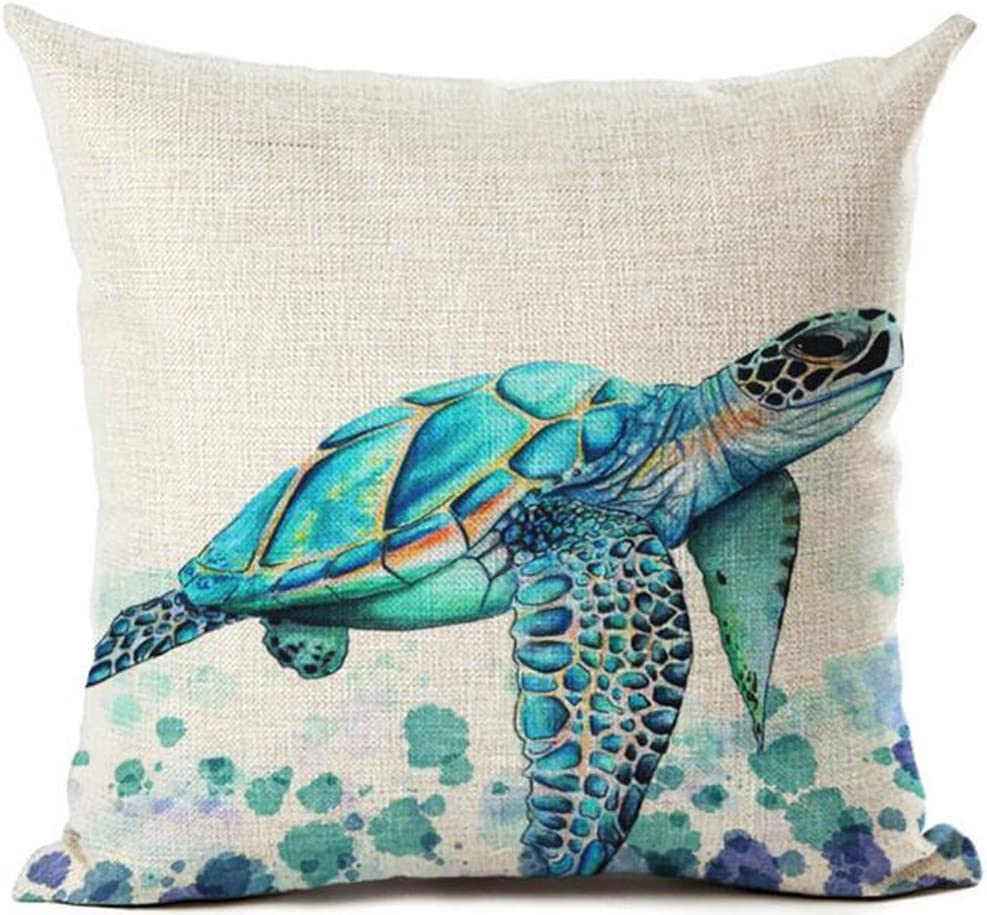 "Beautiful Watercolor Beach Sea Turquoise Color Animals Sea Turtle Swimming Print Cotton Linen Decorative Throw Pillow Case Cushion Cover Square 18 ""X18 """