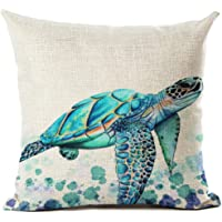Beautiful Watercolor Beach Sea Turquoise Color Animals Sea Turtle Swimming Print Cotton Linen Throw Pillow Case Cushion Cover Home Office Decorative Square 18 X 18 Inches