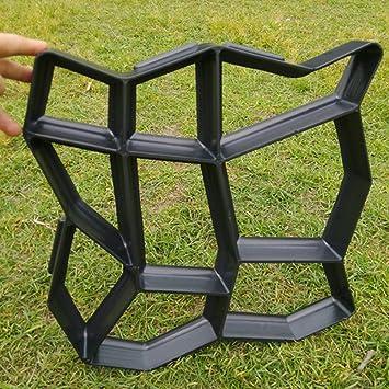 UxradG DIY molde para hacer caminos manualmente cemento ladrillo piedra carretera reutilizable plástico hormigón jardín moldes 43,5 x 43,5 cm (negro): ...