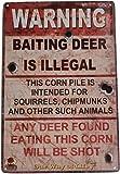 Warning Baiting Deer Is Illegal Funny Tin Sign Bar Pub Garage Diner Cafe Wall Decor Home Decor Art Poster Retro Vintage
