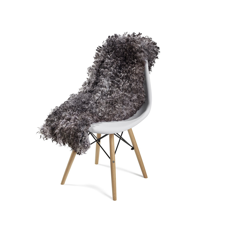 Gotland Handmade Luxury Sheepskin Throw Rug Curly Authentic Sheepskin Light Gray / Dark Gray