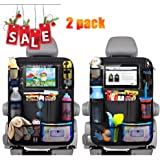 9 Storage Pockets Car Back Seat Protector Goosky Car Back Seat Organiser for Kids,2pcs Universal Car Organizer Kick Mats with 10 Touch Screen Tablet Holder A+B
