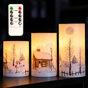 """Christmas Flameless Candles Flicker, D3"""" x H4"""" 5"""" 6"""", Silverstro Snowman Real Wax Pillar LED Candles with 10-Key Remote and Timer, Battery Powered Candles for Christmas Home Decoration - Set of 3"""