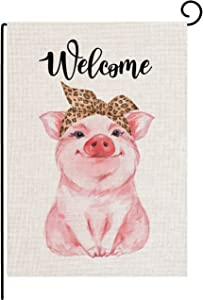 Welcome Vintage Funny Pig Garden Flag Vertical Double Sided 12.5 x 18 Inch Farmhouse Yard Outdoor Decor