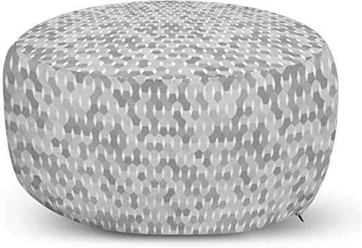 Amazon Com Lunarable Grey And White Ottoman Pouf Muted Toned Design With Pentagon Shapes Grid Modern Print Decorative Soft Foot Rest With Removable Cover Living Room And Bedroom Grey Pale Grey And White
