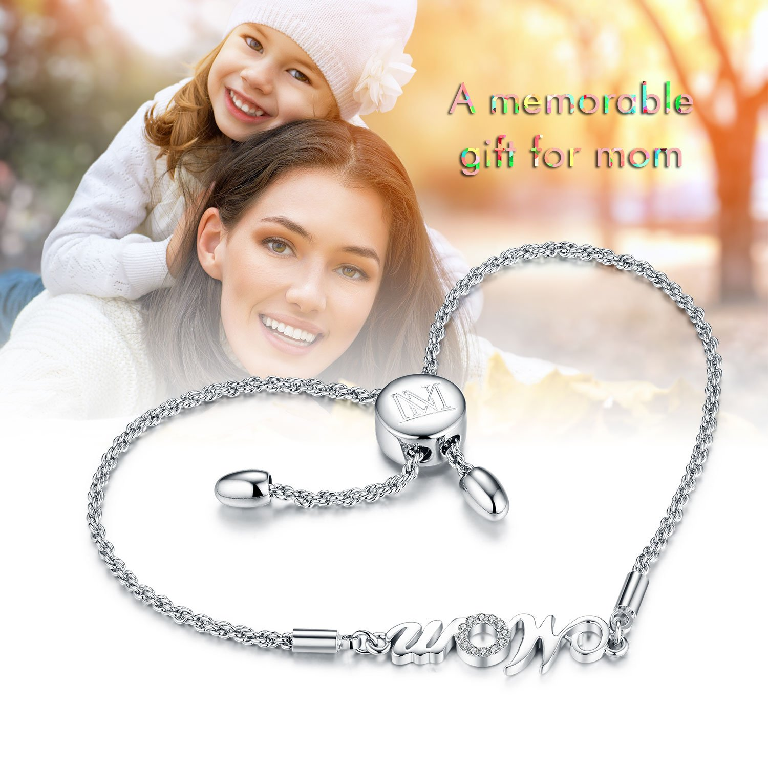 "NINAMAID ""Mom"" Charm Expandable Bolo Bracelet with Cubic Zirconia Adjustable White Gold Plated Copper Jewelry Gift for Mother by NINAMAID (Image #6)"
