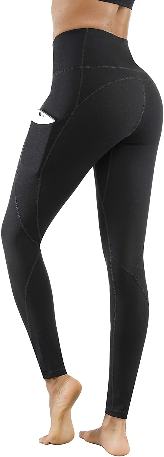 Lingswallow High Waist Yoga Pants - Yoga Pants with Pockets Tummy Control, 4 Ways Stretch Workout Running Yoga Leggings