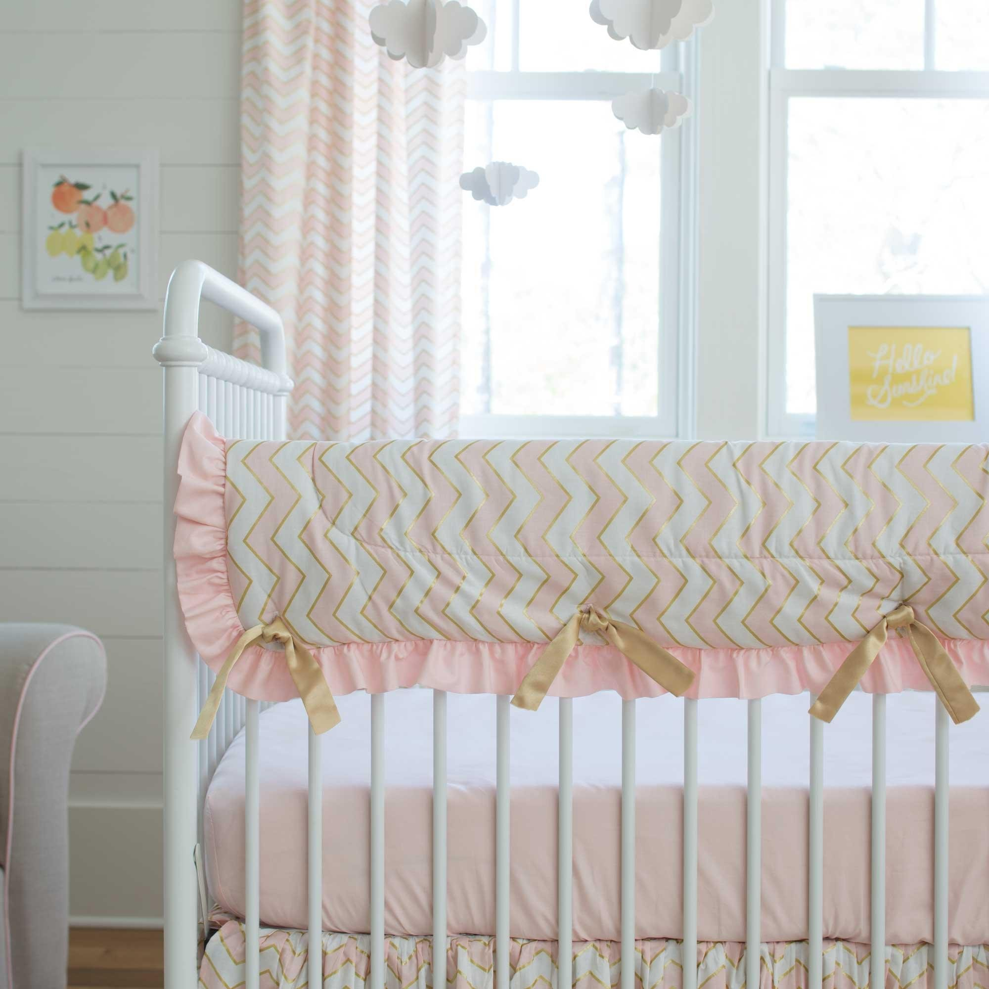 Carousel Designs Pale Pink and Gold Chevron Crib Rail Cover by Carousel Designs