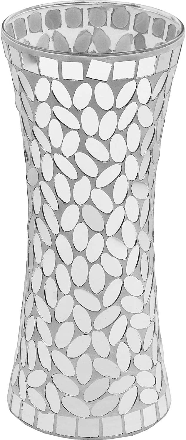 "Galashield Flower Vase for Decor Silver Mosaic Ceramic Vase 11.8"" Tall"