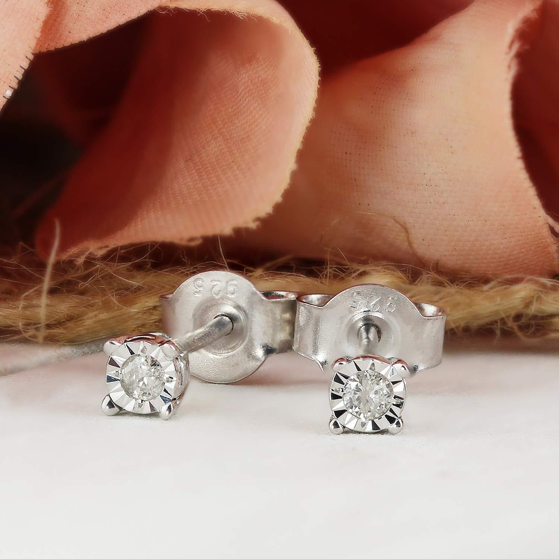 Diamond Wish 14k Gold Round SINGLE Diamond Stud Earring Screw-Back 4-Prong Basket 0.08cttw, White, I1-I2