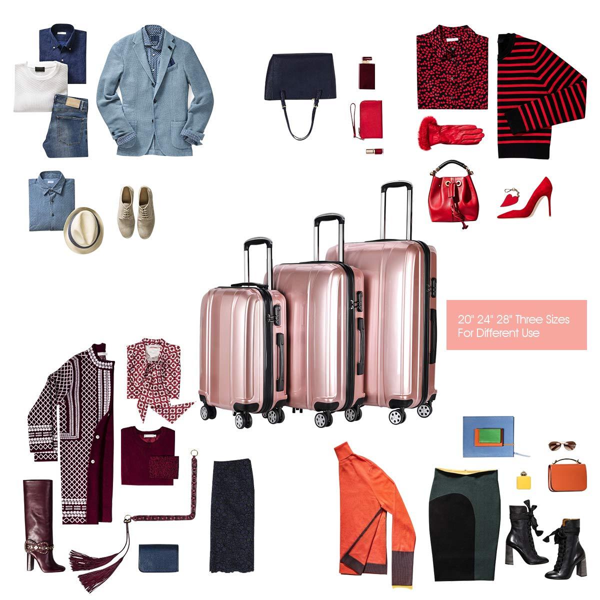 Hardside Travel Suitcase 20 24 28 ABS Goplus 3Pcs Luggage Set PC Travel Trolley Case w//Coded Lock 360/° Spinner Wheels Lightweight Suitcase 20 24 28 ABS PC Travel Trolley Case w//Coded Lock