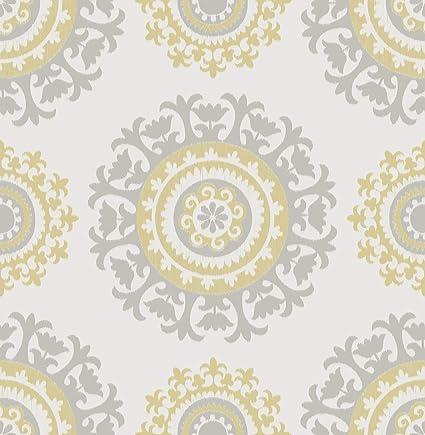Nuwallpaper Nu1652 Grey And Yellow Suzani Peel Stick Wallpaper Amazon Com