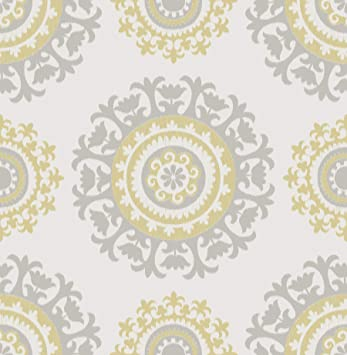 Nuwallpaper Nu1652 Grey And Yellow Suzani Peel Stick Wallpaper Amazon Com