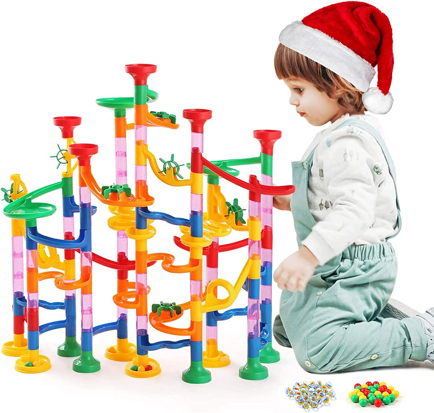 Kuopry Marble Run for Kids - 163 Pieces Building Blocks for Toddlers, Race Track for Boys Girls, Marbles Game, Marble Maze, for Kids,Educational STEM Toys(30Pcs Glass Marbles for Free)