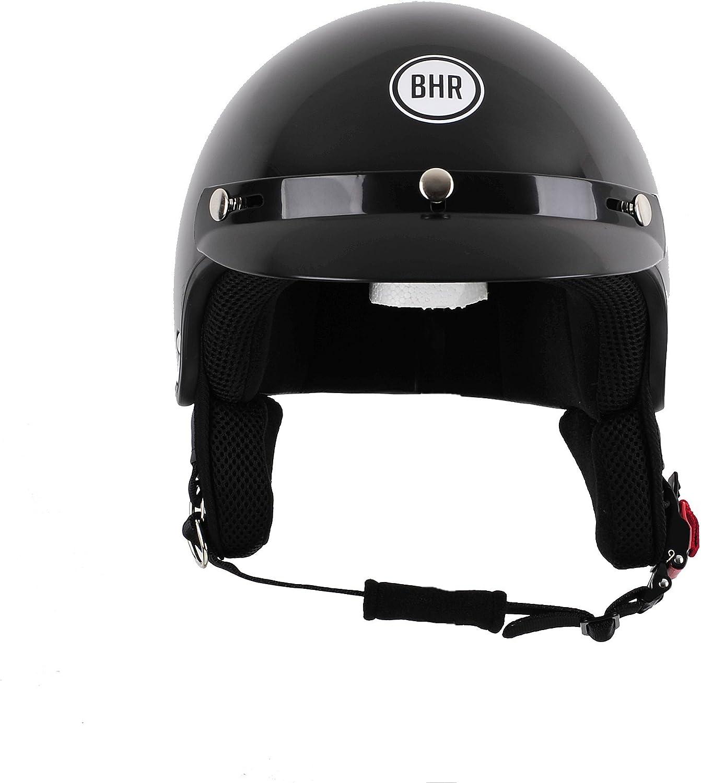 M BHR 94134 Motorrad Helm Demi-Jet mit Schild 803 Schwarz Metallic
