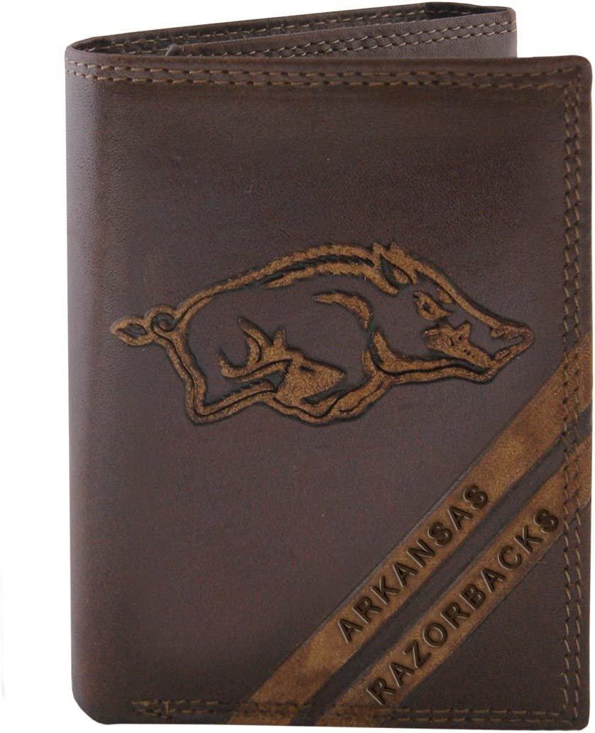 NCAA Arkansas Razorbacks Zep-Pro Pull-Up Leather Trifold Embossed Wallet Brown