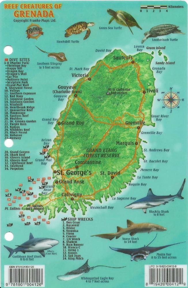 grenada dive map reef creatures guide franko maps laminated fish