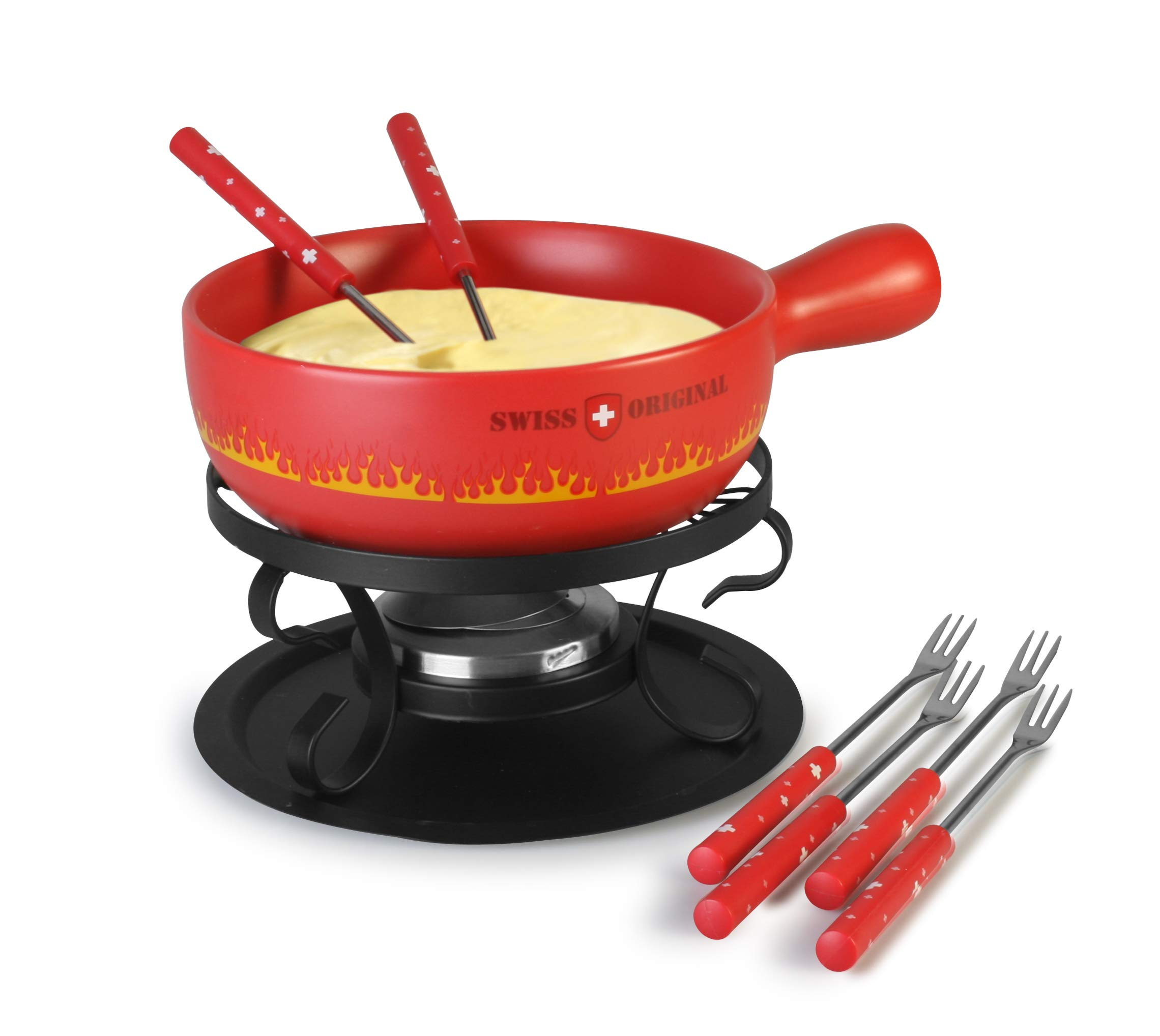 Artestia Ceramic Cheese Fondue Cooking Pot - Swiss Flare (Fondue Set - Red)