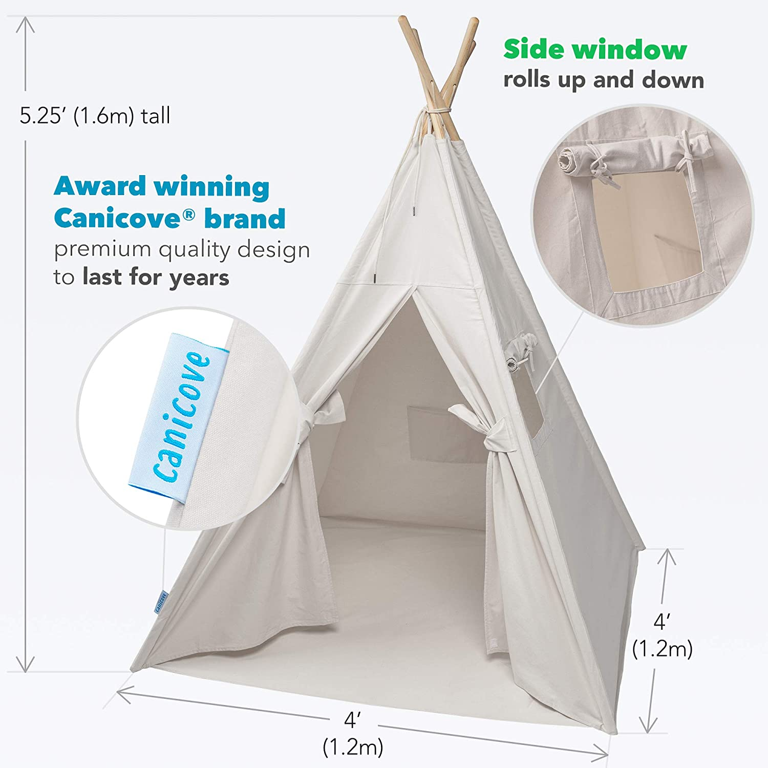 Large Indoor//Outdoor Tipi for Boys /& Girls Canicove Teepee Tent for Kids Award Winning 100/% Cotton Play Tent Free Fun Flags!