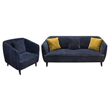 DeLuca Midnight Blue Fabric Sofa U0026 Chair 2PC Set , Included SOFA, CHAIR By  Diamond