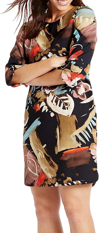 Ex M/&S Smudge Print Shift Dress Black Orange Beige New Sizes 6-22