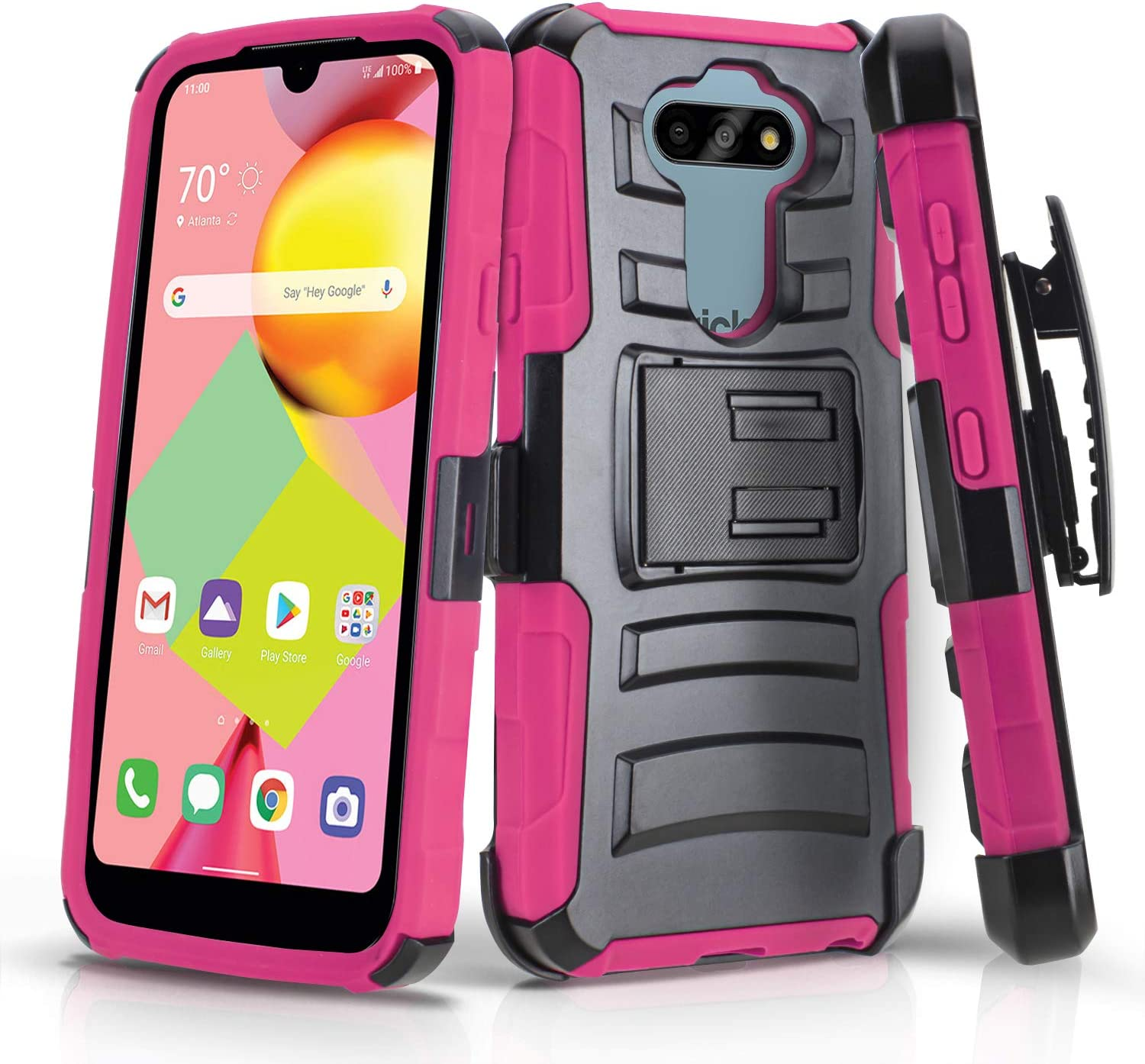 CasemartUSA Phone Case for [LG Risio 4 (Cricket Wireless)], [Refined Series][Pink] Shockproof Protective Cover with Built-in Kickstand & Swivel Belt Clip Holster for LG Risio 4 (Cricket Wireless)