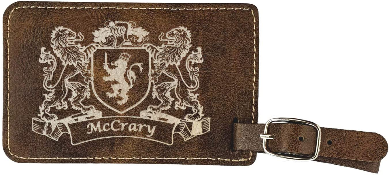 McCrary Irish Coat of Arms Luggage Tag set of 2 Rustic Leather