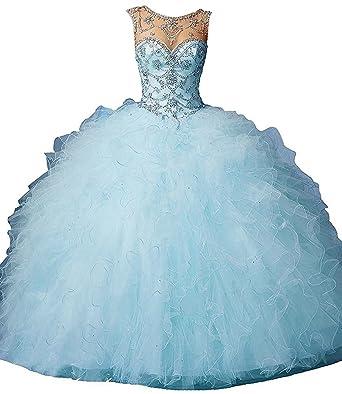816cc35b955 Dearta Women s Ball Gown Scoop Neck Floor-Length Tulle Quinceanera ...