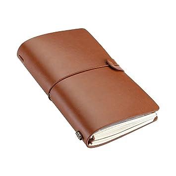 Cuaderno Vintage, Agenda de Notas de Cuero, 3 insertos, con cremallera, para tarjetas, bolsillo, Cuaderno de piel para viaje, Regalo unisex ...