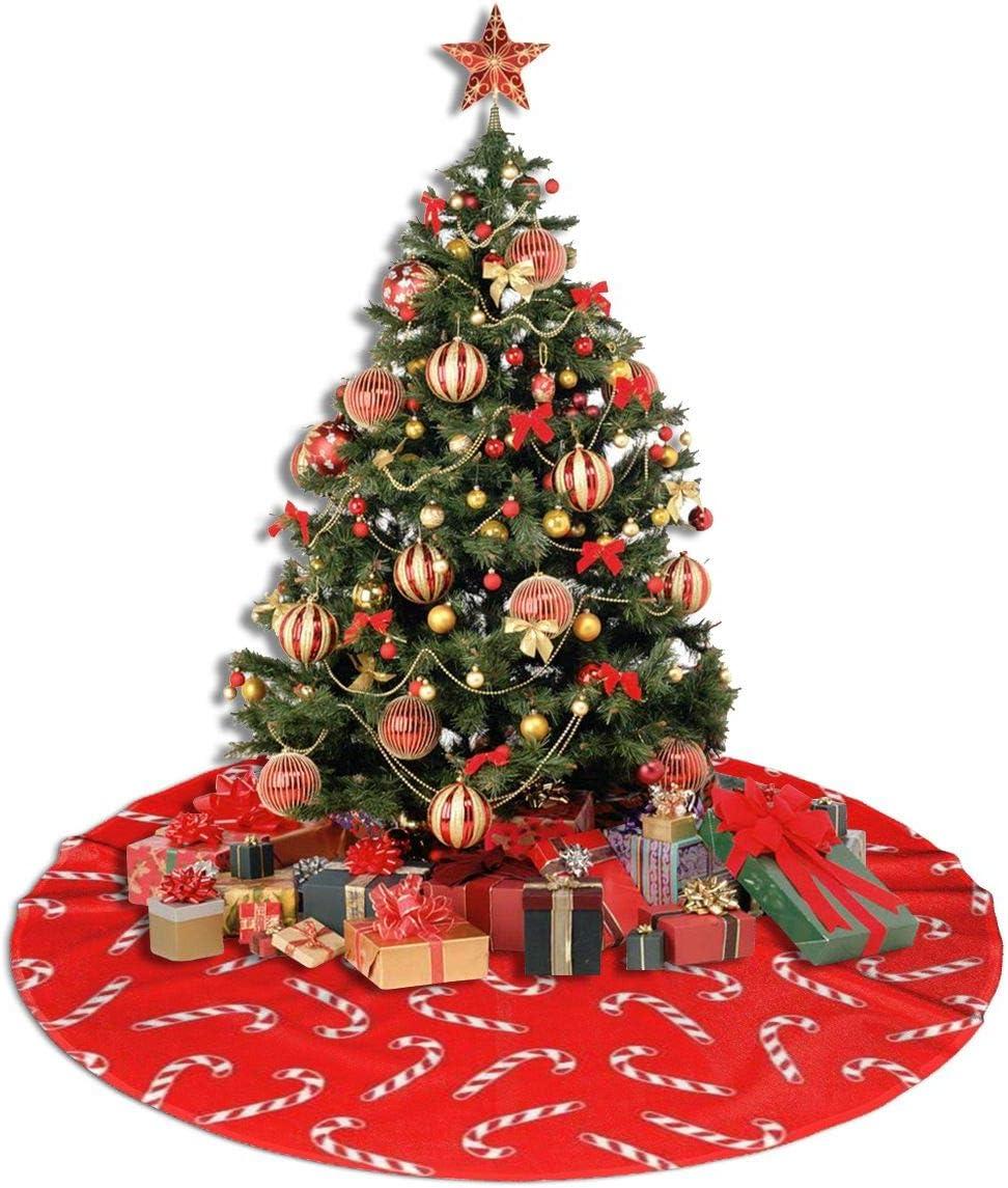 ghkfgkfgk Christmas Tree Skirt Candy Cane Pattern 36 inches Circular Mat for Christmas Holiday Party Xmas Decorations