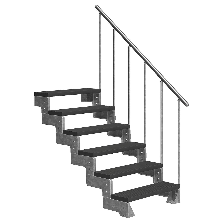 4 Stufen Standtreppe Stahltreppe freistehend Breite 80cm Höhe 84cm Anthrazit