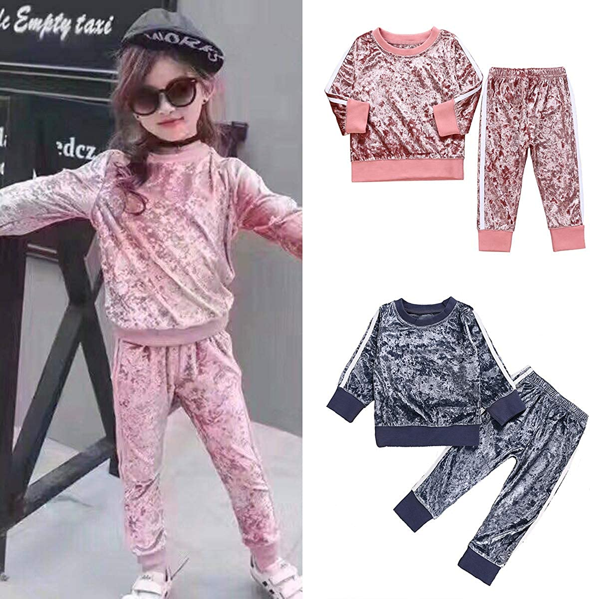 Toddler Kids Baby Girl Velvet Clothes T-Shirt Top Pants Outfit Sets Corduroy Tracksuit