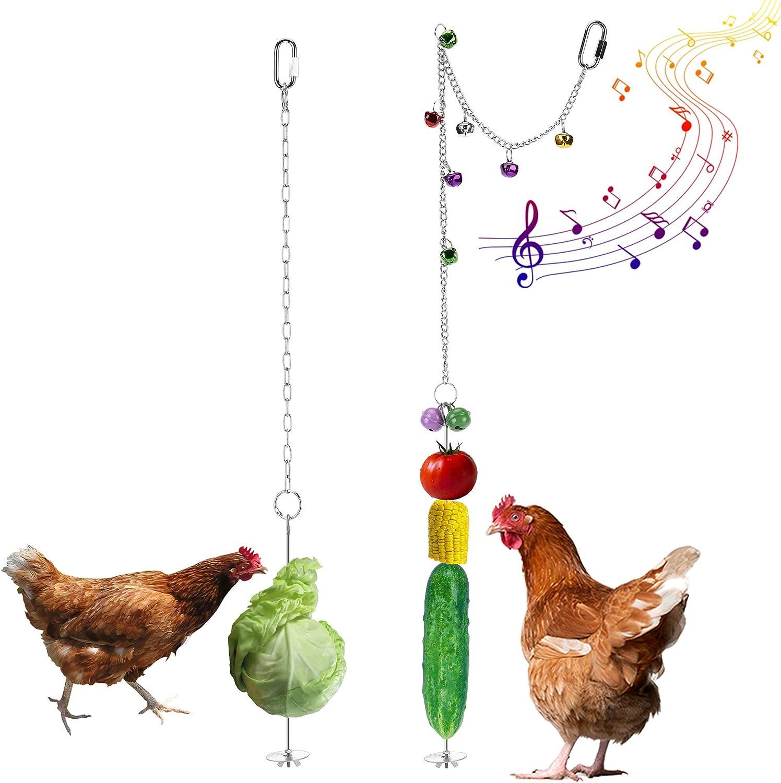 Filhome Chicken Veggies Skewer Fruit Food Holder, 2 Pcs Chicken Toy for Hens, Chicken Bird Vegetable Hanging Feeder Toy for Coop