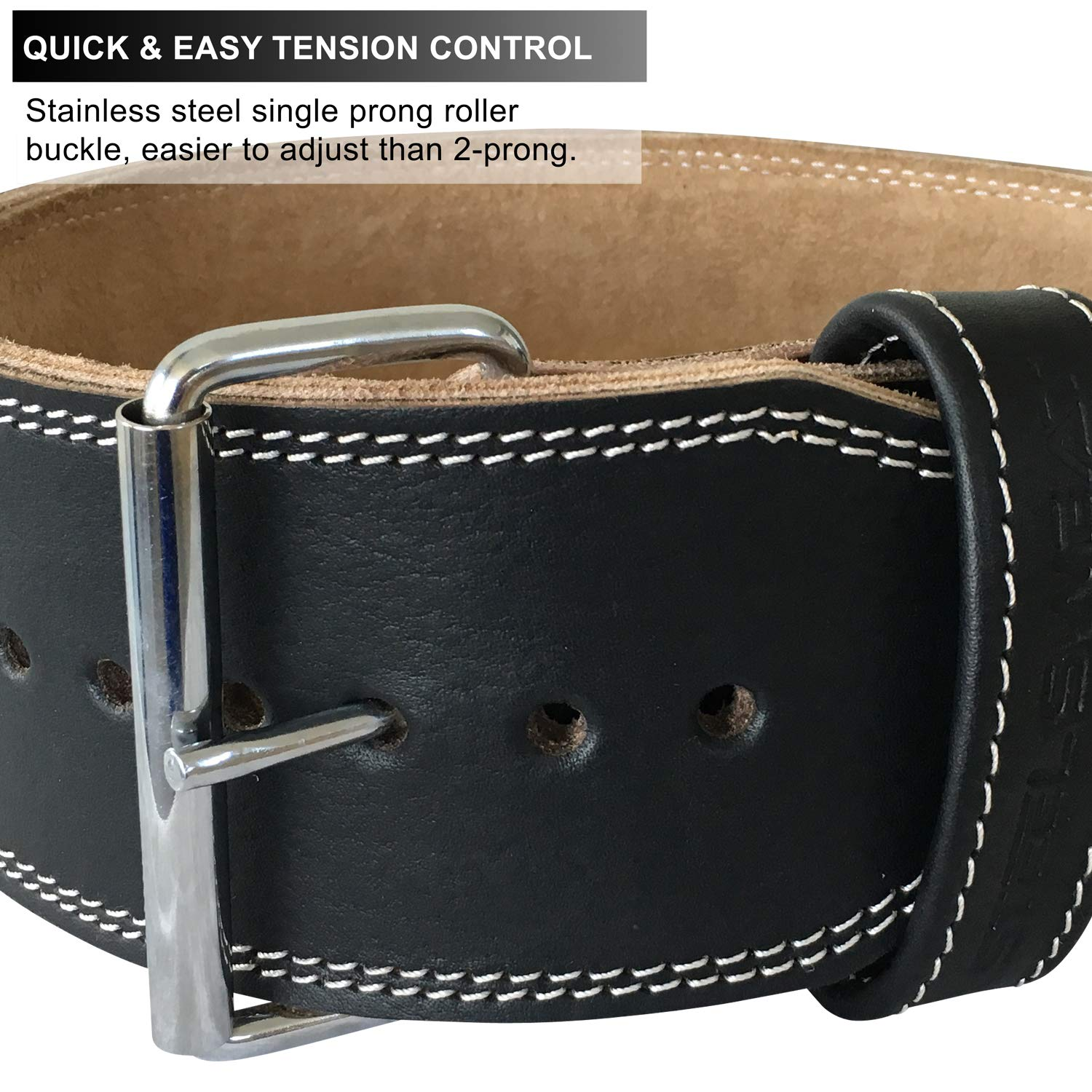Steel Sweat Weight Lifting Belt - 4 Inches Wide by 10mm - Single Prong Powerlifting Belt That's Heavy Duty - Genuine Cowhide Leather - Large Texus by Steel Sweat (Image #5)