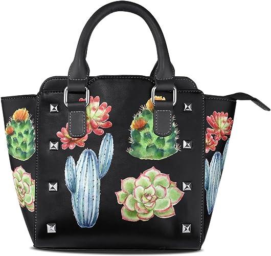 Womens Leather Succulent Cactus Handbag Satchel Tote Bag Tote Purse