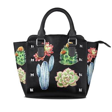 Amazon.com: Cactus plantas suculentas bolsos de piel bolsos ...