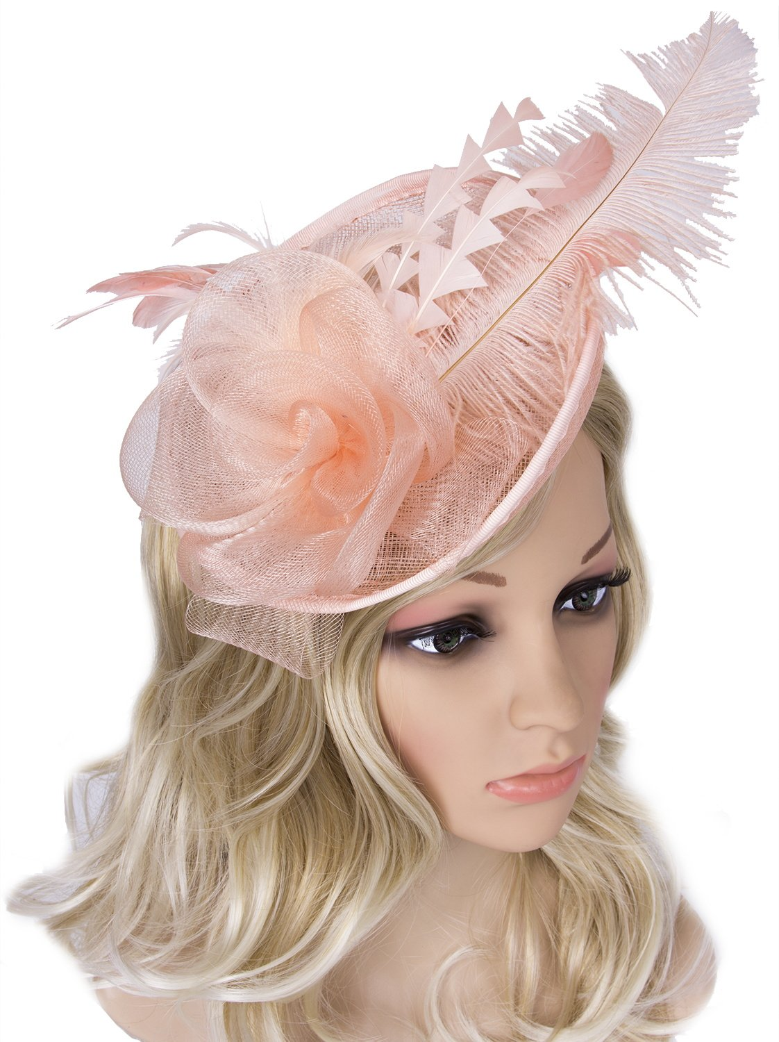 Vijiv Women Vintage Derby Fascinator Hat Pillbox Headband Feather Cocktail Tea Party,Champagne Gold,One Size