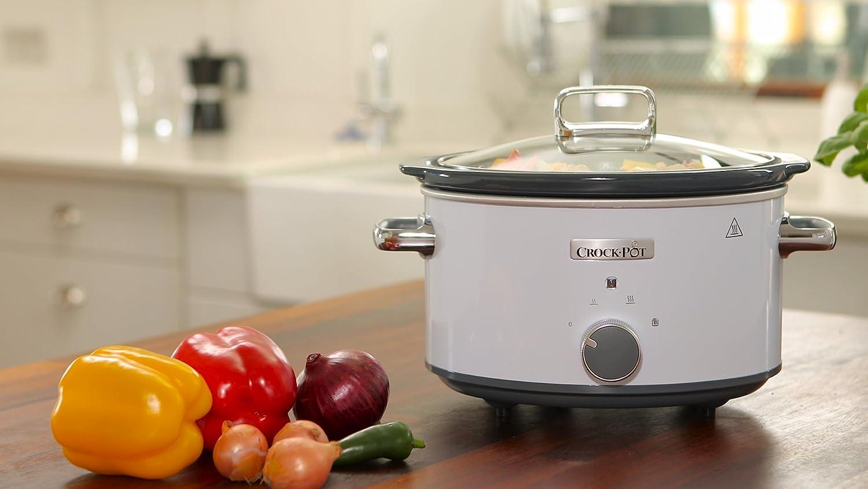 Crock-Pot CSC030X Olla de cocción lenta manual 3,5 L, 1000 W, 3.5 litros, Acero Inoxidable, Blanco