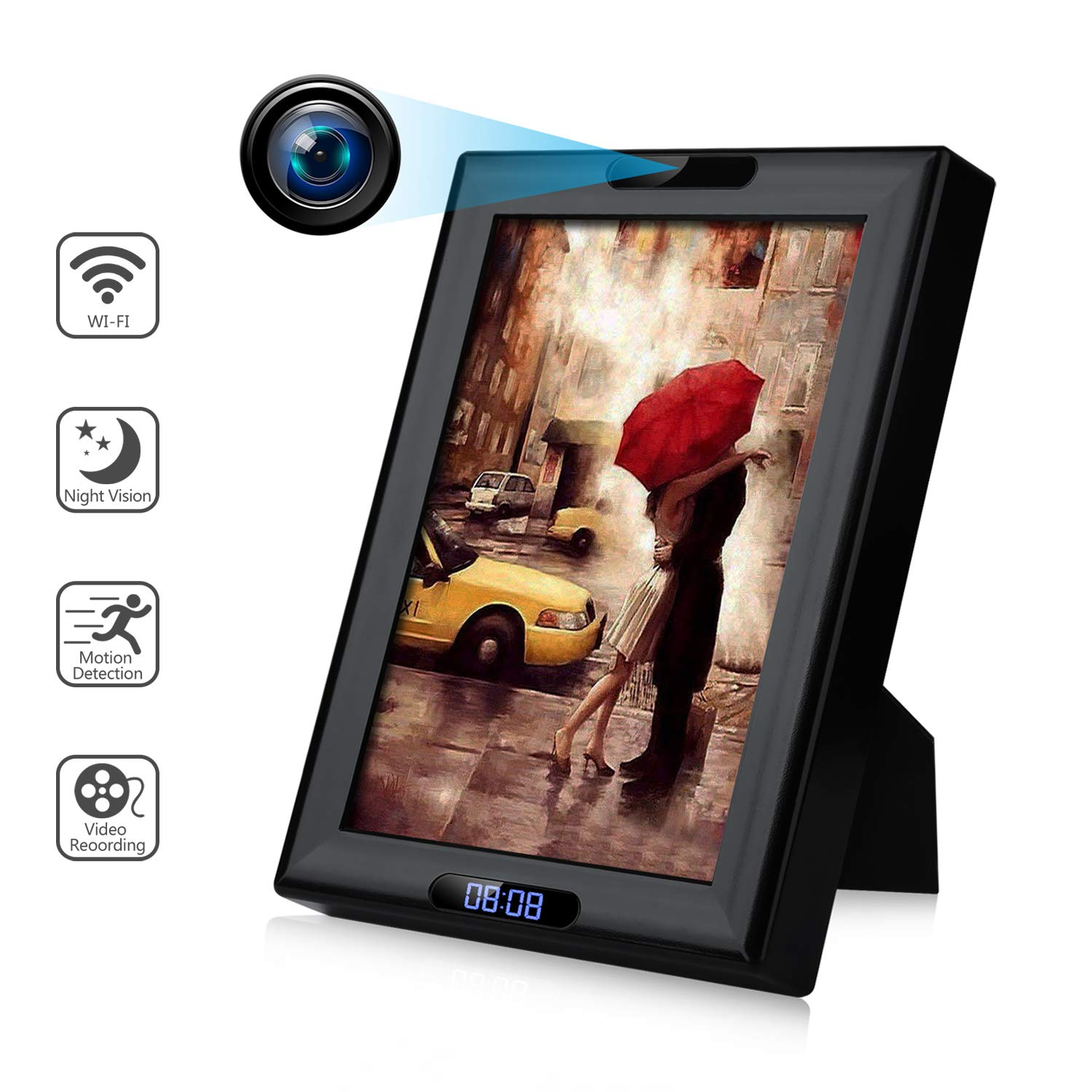 Wireless Hidden Spy Camera Photo Frame with Clock HD 1080P WiFi IP Nanny Cam Home Security Cameras Night Vision Motion Detection