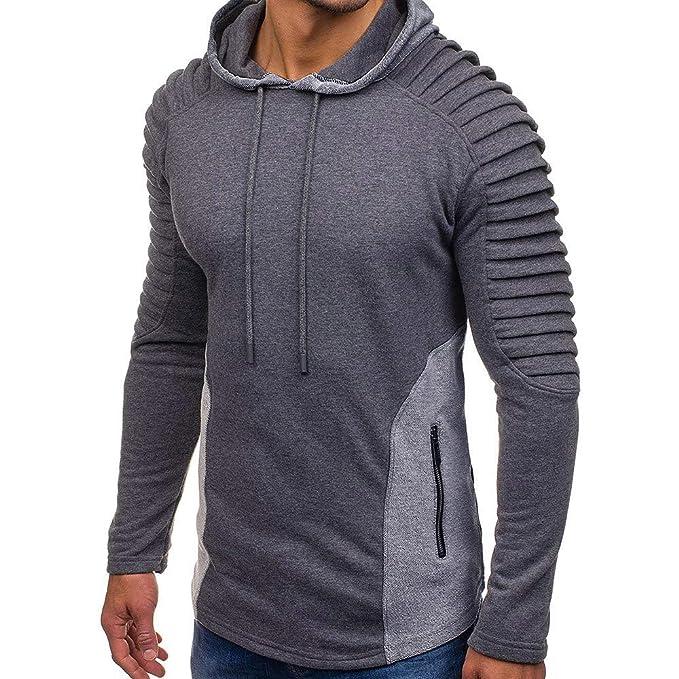 Pervobs Mens Autumn Basic Pleats Slim Fit Raglan Long Sleeve Hooded Hoodie