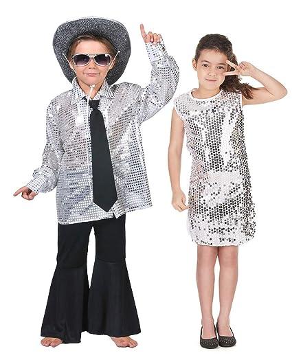 Generique - Disfraz de Pareja Disco Plateado niños: Amazon ...