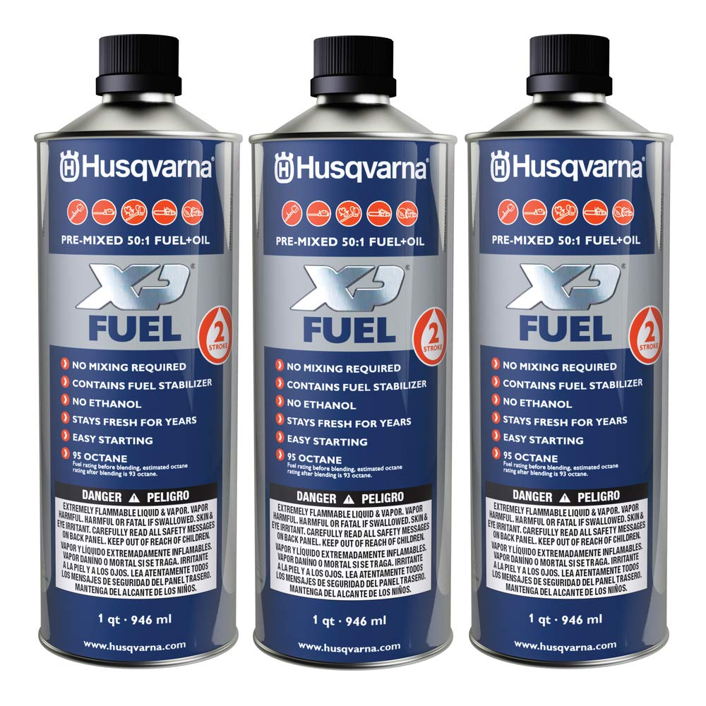 Husqvarna XP Pre-Mixed Fuel and Engine Oil Quart (3 Pack),Blue by Husqvarna