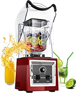 WantJoin Professional Soundproof Quiet Blender, Commercial Smoothie Blenders Countertop Blender with Shield Sound Enclosure,Multifunctional,Speed Control,Self-Cleaning (Red)