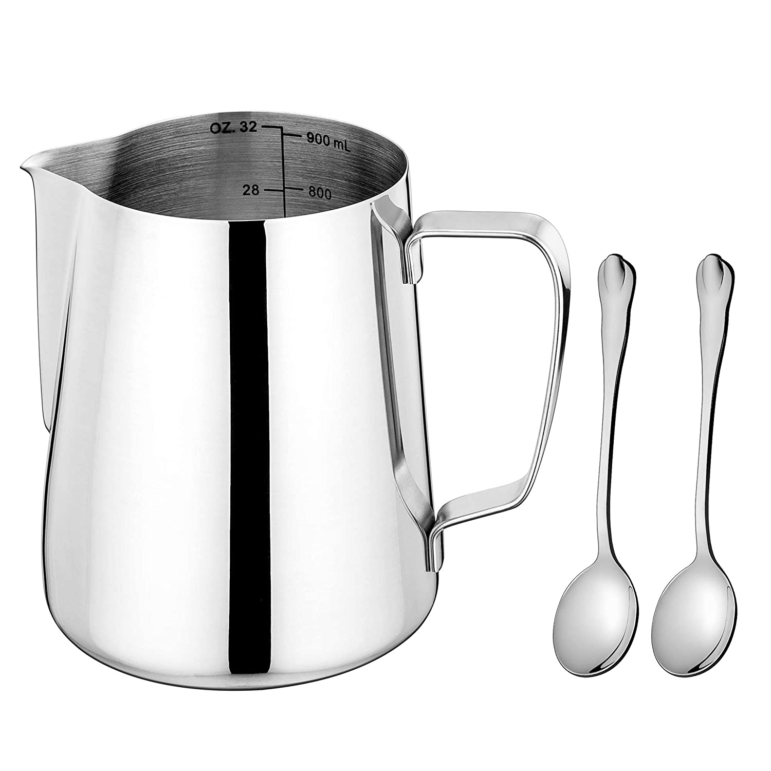 Milk Pitcher, LIANYU 32oz Frothing Pitcher, Stainless Steel Espresso Cappuccino Coffee Steaming Creamer Pitcher, Dishwasher Safe, Attached Small Tea Spoons
