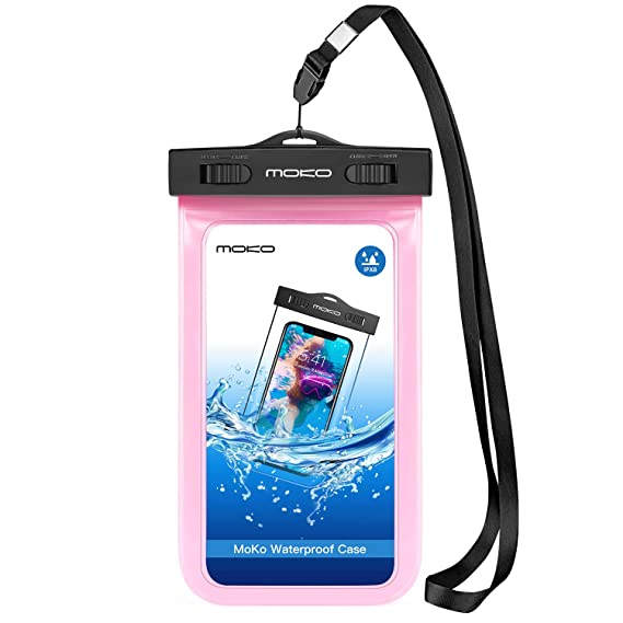 hot sale online cbe01 57b59 MoKo Waterproof Phone Pouch, Underwater Waterproof Cellphone Case Dry Bag  with Lanyard Armband Compatible with iPhone X/Xs/Xr/Xs Max, 8/7/6s Plus, ...